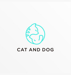 logo cat a nd dog line art style vector image