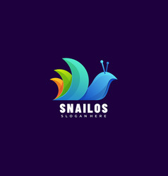 logo snail gradient colorful style vector image