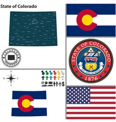 Map of colorado with seal vector