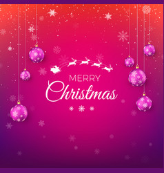 merry christmas greeting card in red and purple vector image