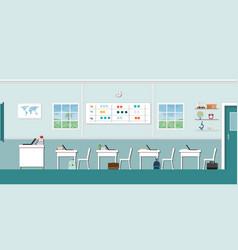 Modern classroom interior with blackboard vector