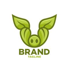 Modern leaf pig logo vector