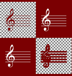 Music violin clef sign g-clef bordo and vector
