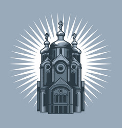 orthodox church with sunrise at the back vector image