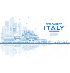 Outline welcome to italy city skyline with blue vector