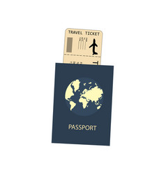 passport and plane ticket vector image