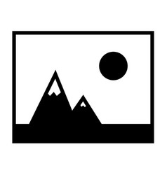 Picture of mountains and sun icon vector