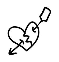 Punk rock heart lineart vector