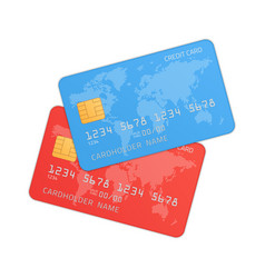red and blue credit cards vector image