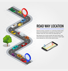 Road way location and mobile gps navigation flat vector