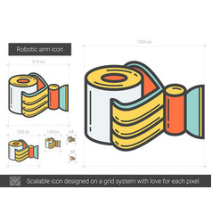 Robotic arm line icon vector