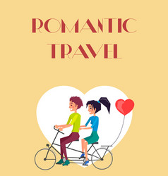 Romantic travel couple riding on twin bike vector