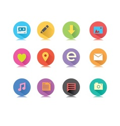 Round long shadow button icons vector image