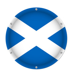 Round metallic flag of scotland with screws vector