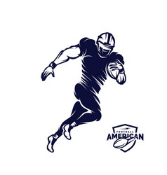 Running american football player logo silhouette vector