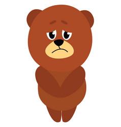 sad little bear on white background vector image