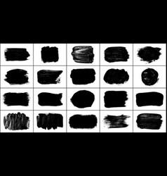 set black brush strokes isolated on white vector image