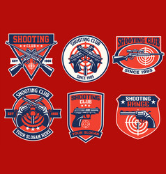 set bundle shooting club badge collection vector image