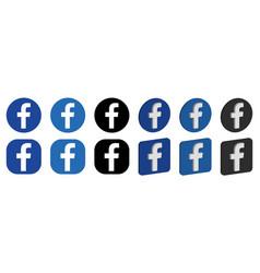Set facebook logo icons vector