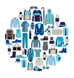 set icon of fashion collection of man wardrobe vector image