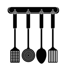 set kitchen cutlery hanging vector image