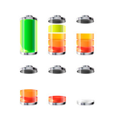 set of battery icons with different charge level vector image