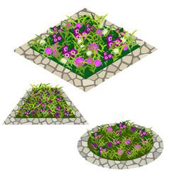 Set of flowers to create garden scene vector