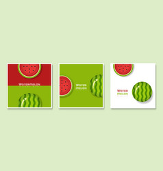 Set of fruit banners with watermelon paper art vector
