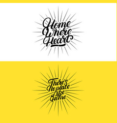 set of hand written lettering quotes for home vector image