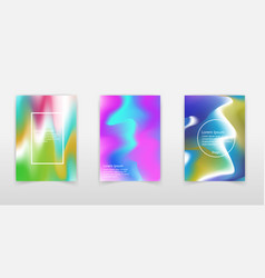 set of modern futuristic posters with holographic vector image