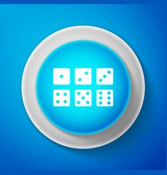 set of six dices icon isolated on blue background vector image