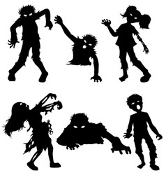 Set of zombie male and female of black silhouettes vector