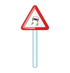 Slippery when wet road sign icon cartoon style vector image