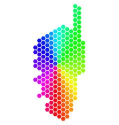 Spectrum hexagon corsica france island map vector