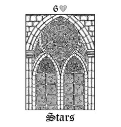 Stars tarot card from lenormand gothic mysteries vector