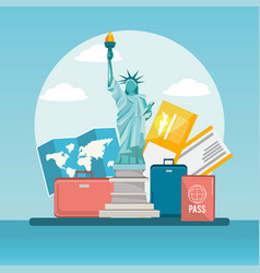 statue of liberty trabel with baggage and passport vector image