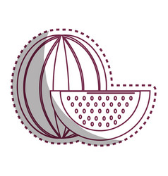 Stiker silhouette delicious watermelon fruit icon vector