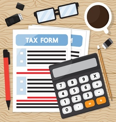 Tax calculation on wood table vector image