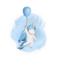 Unicorn bafly with baloon vector