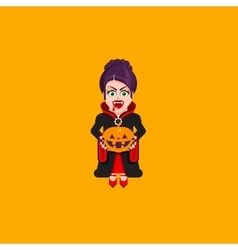 Vampire woman character for halloween in a flat vector image