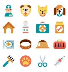 Veterinary flat icons Pet health care vector image