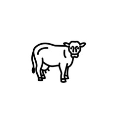 Web line icon cow livestock black on white vector