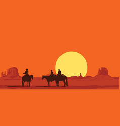 Western landscape with silhouettes armed riders vector