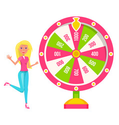 Woman spinning colorful wheel fortune vector