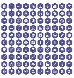 100 oppression icons hexagon purple vector image vector image