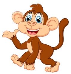 Cartoon monkey presenting vector image vector image