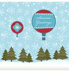 christmas hot air balloon vector image vector image