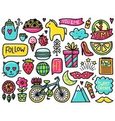 Doodles cute elements vector image vector image