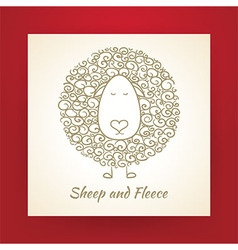 Hand Drawn Gold Sheep and Fleece vector image
