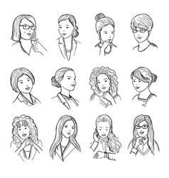 hand drawn peoples with funny smiling faces and vector image